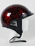 DOT Red Boneyard Motorcycle Half Helmet