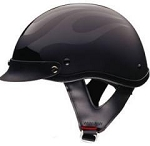 DOT Flat Black Flame Motorcycle Half Helmet with Visor