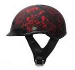 DOT Matte Red Boneyard Motorcycle Half Helmet