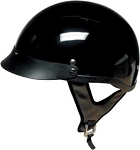 DOT Gloss Black Motorcycle Half Helmet with Visor
