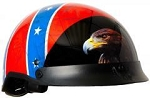 DOT Rebel Flag Motorcycle Half Helmet with Visor