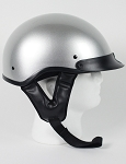 DOT Silver Motorcycle Half Helmet with Visor