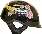 DOT Women's Lady Rider Rose Motorcycle Half Helmet