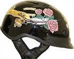 DOT Women's Lady Rider Rose Motorcycle Half Helmet