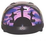 DOT Vented Purple Cross Christian Motorcycle Half Helmet