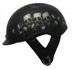 DOT Vented Black Skull Pile Motorcycle Half Helmet