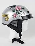 Women's Lady Rider Silver Motorcycle Half Helmet
