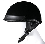 DOT Gloss/Shiny Black Motorcycle Half Helmet with Visor