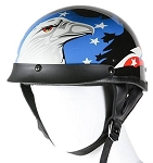 DOT Motorcycle Half Helmet With Eagle & American Flag