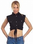 Womens Front Tie Black Denim Sleeveless Shirt