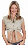 Womens Front Tie Beige Denim Sleeveless Shirt