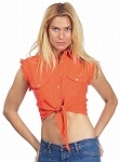 Womens Front Tie Orange Denim Sleeveless Shirt
