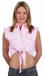 Womens Front Tie Pink Denim Sleeveless Shirt