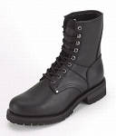 Men's Wide Leather Motorcycle Boots with Front Laces