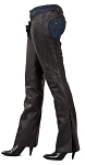 Womens Low Rise Lined Leather Motorcycle Chaps