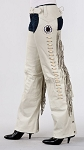 Womens Cream Dream Catcher Leather Chaps