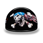 Novelty Motorcycle Half Helmet with Patriot Skull