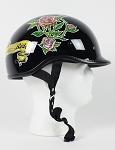 DOT Lady Rider Black Polo Style Motorcycle Helmet