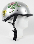 DOT Lady Rider Silver Polo Style Motorcycle Helmet