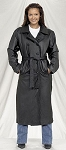 Womens Full Length Leather Coat with Belt & Z/O Liner