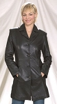 Womens 2/4 Leather Coat With Buttons On Front