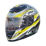 DOT Yellow Graphic Full Face Motorcycle Helmet