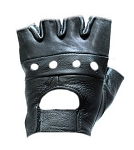 Fingerless Biker Leather Motorcycle Gloves