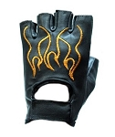 Biker Fingerless Leather Gloves With Orange Flames