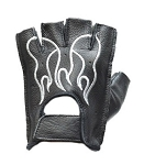 Fingerless Leather Motorcycle Gloves with White Flames