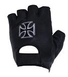 Chopper Cross Fingerless Leather Motorcycle Gloves