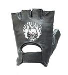 Skull in Flames Biker Fingerless Motorcycle Gloves