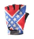Rebel Flag Fingerless Leather Motorcycle Gloves