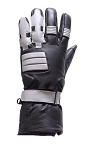 Black and Gray Leather Motorcycle Gauntlet Gloves