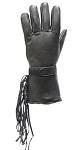 Leather Motorcycle Gauntlet Gloves with Tassles