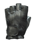 Fingerless Gel Palm Leather Motorcycle Gloves