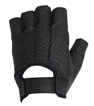 Fingerless Vented Gel Palm Leather Motorcycle Gloves