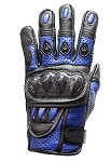 Blue Motorcycle Racing Gloves with Hard Knuckle