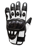 White Motorcycle Racing Gloves with Hard Knuckle