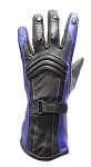 Womens Black and Blue Insulated Leather Gloves