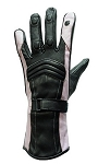 Womens Black and Pink Insulated Leather Gloves