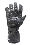 Leather Racing Gloves with Padded Knuckle and Fingers