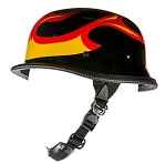 German Black Novelty Motorcycle Helmet With Flames