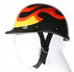 Jockey Black Novelty Motorcycle Helmet With Flames