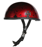 Burgundy Boneyard Novelty Helmet with Chopper Cross
