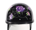 Women's Novelty Motorcycle Helmet with Purple Roses