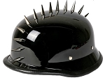 Black German Novelty Motorcycle Helmet With Spikes