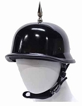 1 Spike Black German Shiny Novelty Motorcycle Helmet
