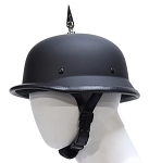1 Spike German Flat Black Novelty Motorcycle Helmet