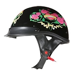 DOT Womens Black Rose Motorcycle Half Helmet