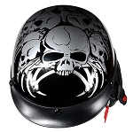 DOT Spider and Skull Motorcycle Half Helmet